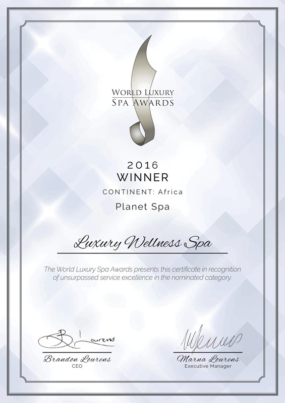 World Luxury Spa Awards WLSA 2016 Africa Luxury Award -Planet Spa