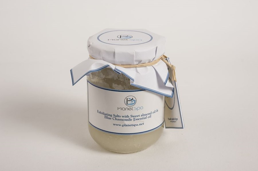 Exfoliating salts with sweet almond oil & blue chamomile essential oil