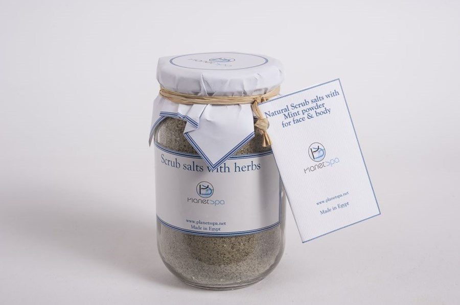Natural scrub salts with mint powder for face & body
