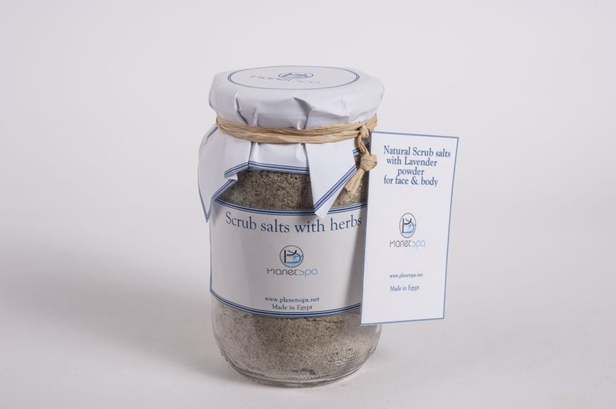 Natural scrub salts with lavender powder for face & body
