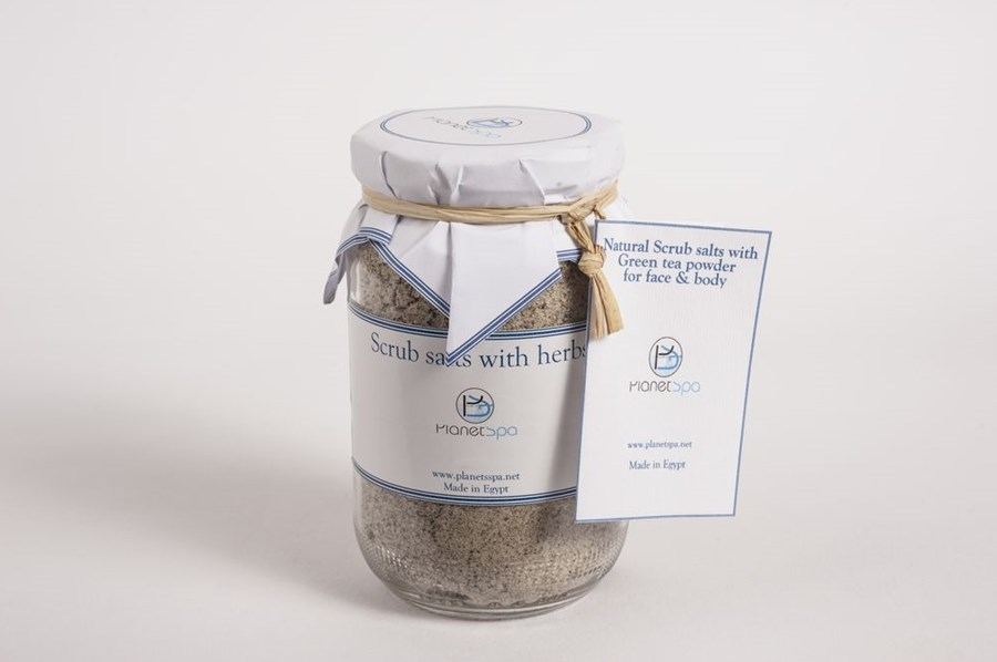 Natural scrub salts with green tea powder for face & body