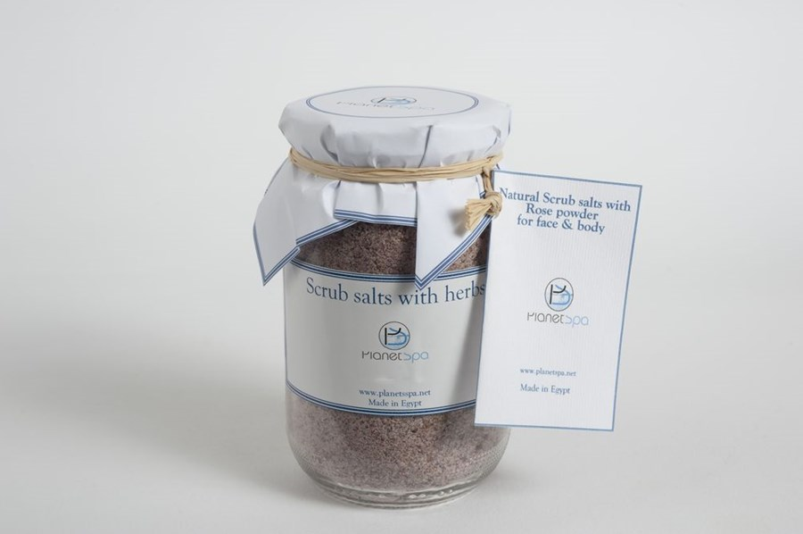 Natural scrub salts with rose powder for face & body