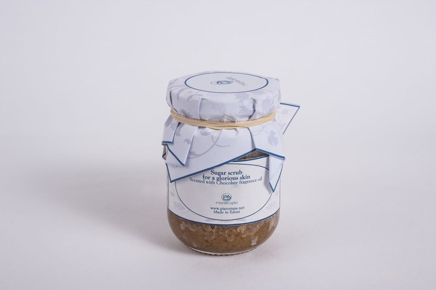 Sugar scrub for a glorious skin scented with chocolate fragnance oil
